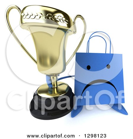 Clipart of a 3d Happy Blue Shopping or Gift Bag Character Holding up a Trophy - Royalty Free Illustration by Julos