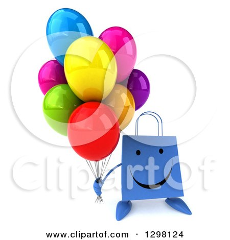 Clipart of a 3d Happy Blue Shopping or Gift Bag Character Holding up Party Balloons - Royalty Free Illustration by Julos