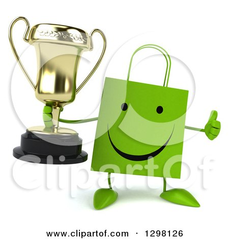 Clipart of a 3d Happy Green Shopping or Gift Bag Character Holding a Trophy and Thumb up - Royalty Free Illustration by Julos