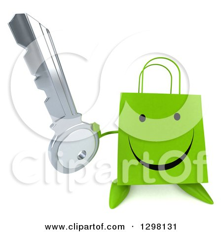 Clipart of a 3d Happy Green Shopping or Gift Bag Character Holding up a Key - Royalty Free Illustration by Julos