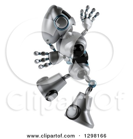 Clipart of a 3d Silver Male Techno Robot Facing Right and Jumping - Royalty Free Illustration by Julos