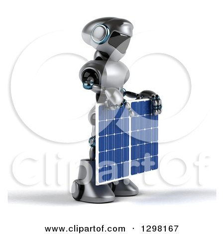 Clipart of a 3d Silver Male Techno Robot Facing Right and Holding a Solar Panel - Royalty Free Illustration by Julos