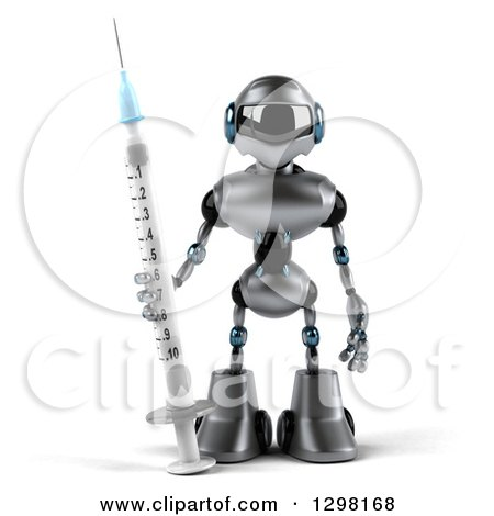 Clipart of a 3d Silver Male Techno Robot with a Giant Vaccination Syringe - Royalty Free Illustration by Julos