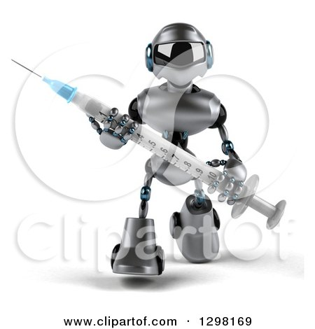 Clipart of a 3d Silver Male Techno Robot Walking with a Giant Vaccination Syringe - Royalty Free Illustration by Julos