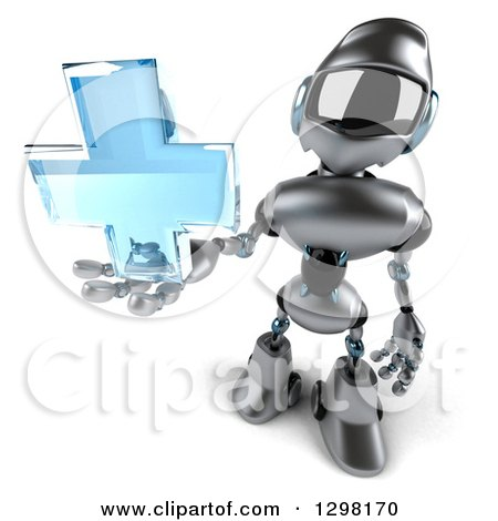 Clipart of a 3d Silver Male Techno Robot Holding up a Blue Medical Cross - Royalty Free Illustration by Julos