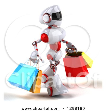 Clipart of a 3d White and Red Robot Walking to the Right and Carrying Shopping Bags - Royalty Free Illustration by Julos
