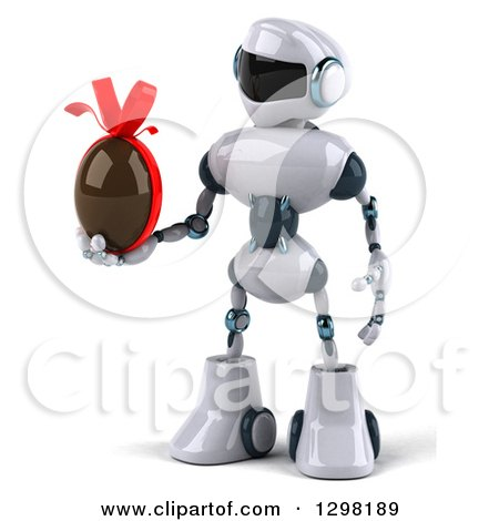 Clipart of a 3d White and Blue Robot Holding a Chocolate Easter Egg - Royalty Free Illustration by Julos