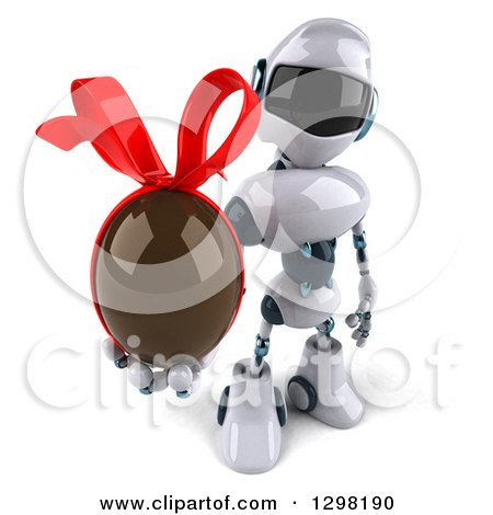 Clipart of a 3d White and Blue Robot Holding up a Chocolate Easter Egg - Royalty Free Illustration by Julos