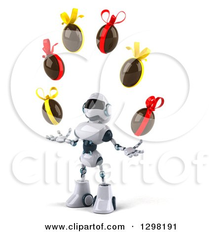 Clipart of a 3d White and Blue Robot Facing Slightly Left, Looking up and Juggling Chocolate Easter Eggs - Royalty Free Illustration by Julos