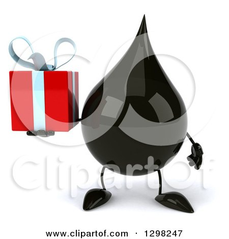 Clipart of a 3d Oil Drop Character Holding a Gift - Royalty Free Illustration by Julos