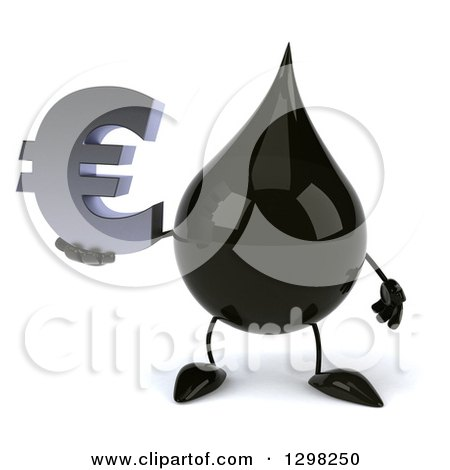 Clipart of a 3d Oil Drop Character Holding a Euro Currency Symbol - Royalty Free Illustration by Julos