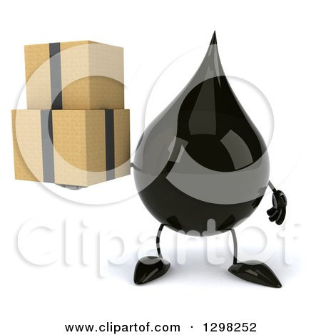Clipart of a 3d Oil Drop Character Holding Boxes - Royalty Free Illustration by Julos
