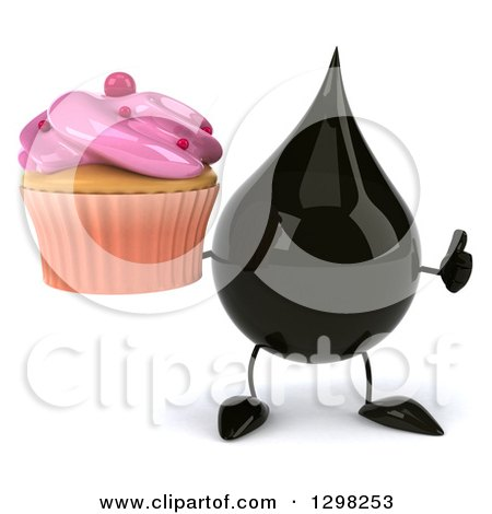 Clipart of a 3d Oil Drop Character Holding a Pink Frosted Cupcake and Thumb up - Royalty Free Illustration by Julos