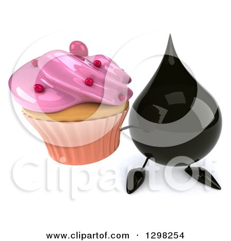 Clipart of a 3d Oil Drop Character Holding up a Pink Frosted Cupcake - Royalty Free Illustration by Julos