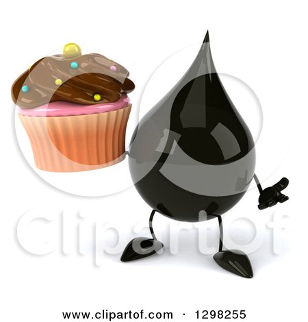 Clipart of a 3d Oil Drop Character Shrugging and Holding a Chocolate Frosted Cupcake - Royalty Free Illustration by Julos