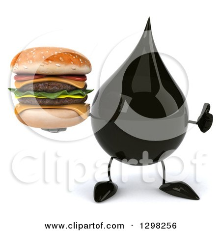 Clipart of a 3d Oil Drop Character Giving a Thumb up and Holding a Double Cheeseburger - Royalty Free Illustration by Julos