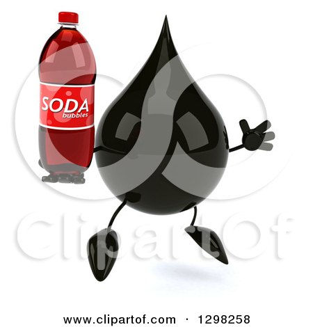Clipart of a 3d Oil Drop Character Facing Slightly Right, Jumping and Holding a Soda Bottle - Royalty Free Illustration by Julos
