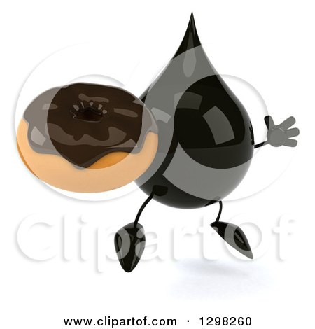 Clipart of a 3d Oil Drop Character Facing Slightly Right, Jumping and Holding a Chocolate Frosted Donut - Royalty Free Illustration by Julos