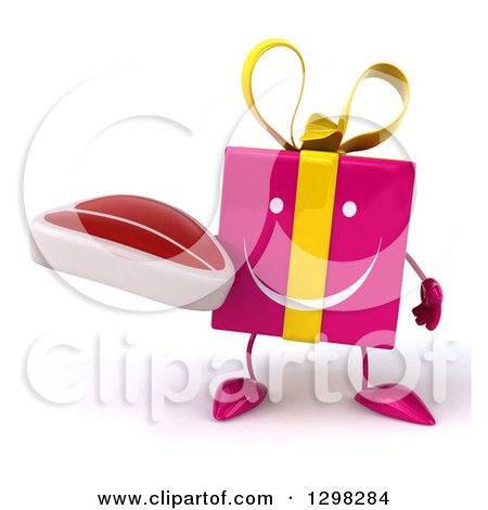 Clipart of a 3d Happy Pink Gift Character Holding a Steak - Royalty Free Illustration by Julos