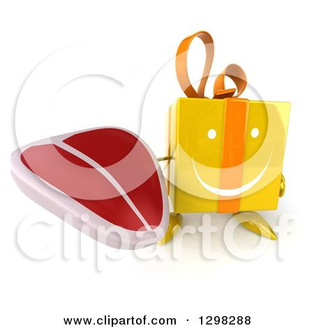 Clipart of a 3d Happy Yellow Gift Character Holding up a Steak - Royalty Free Illustration by Julos