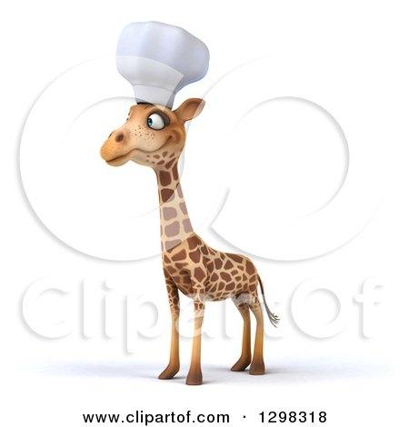 Clipart of a 3d Chef Giraffe Facing Slightly Left - Royalty Free Illustration by Julos