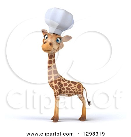Clipart of a 3d Chef Giraffe Looking at the Viewer, Body Facing Left - Royalty Free Illustration by Julos