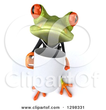 Clipart of a 3d Green Business Springer Frog Boss Holding up a Coffee Mug - Royalty Free Illustration by Julos