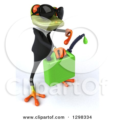 Clipart of a 3d Green Business Springer Frog Facing Right, Wearing Sunglasses and Pointing to Dripping Biofuel - Royalty Free Illustration by Julos