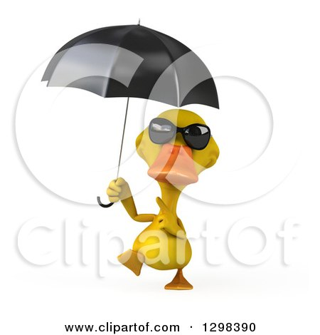 Clipart of a 3d Yellow Duck Wearing Sunglasses, Walking with and Pointing to an Umbrella - Royalty Free Illustration by Julos