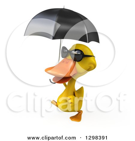 Clipart of a 3d Yellow Duck Wearing Sunglasses, Walking to the Left and Holding an Umbrella - Royalty Free Illustration by Julos