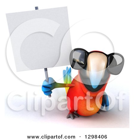 Clipart of a 3d Scarlet Macaw Parrot Wearing Sunglasses and Holding a Blank Sign - Royalty Free Illustration by Julos