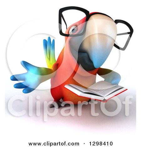 Clipart of a 3d Bespectacled Scarlet Macaw Parrot Reading a Book and Presenting - Royalty Free Illustration by Julos