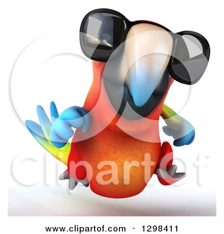Clipart of a 3d Scarlet Macaw Parrot Wearing Sunglasses and Running - Royalty Free Illustration by Julos