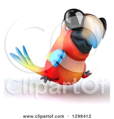 Clipart of a 3d Scarlet Macaw Parrot Wearing Sunglasses and Running Slightly Right - Royalty Free Illustration by Julos