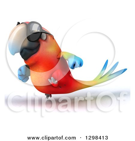 Clipart of a 3d Scarlet Macaw Parrot Wearing Sunglasses and Running to the Left - Royalty Free Illustration by Julos