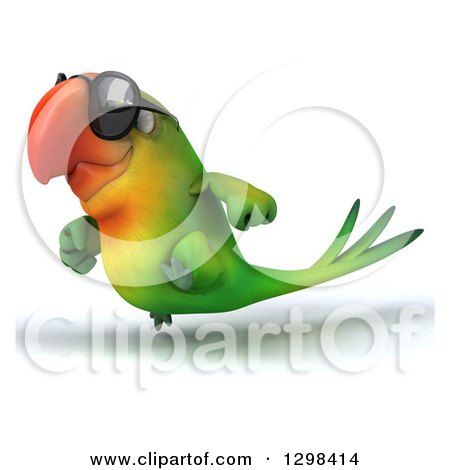 Clipart of a 3d Green Macaw Parrot Wearing Sunglasses and Running to the Left - Royalty Free Illustration by Julos