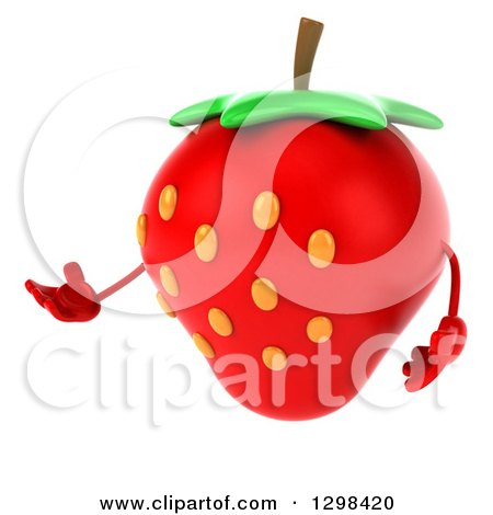 Clipart of a 3d Strawberry Character Presenting - Royalty Free Illustration by Julos