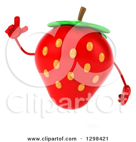 Clipart of a 3d Strawberry Character Holding up a Finger - Royalty Free Illustration by Julos