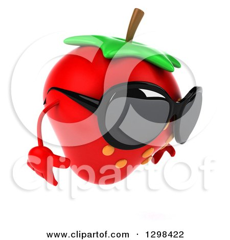 Clipart of a 3d Strawberry Character Facing Right, Wearing Sunglasses and Looking down - Royalty Free Illustration by Julos