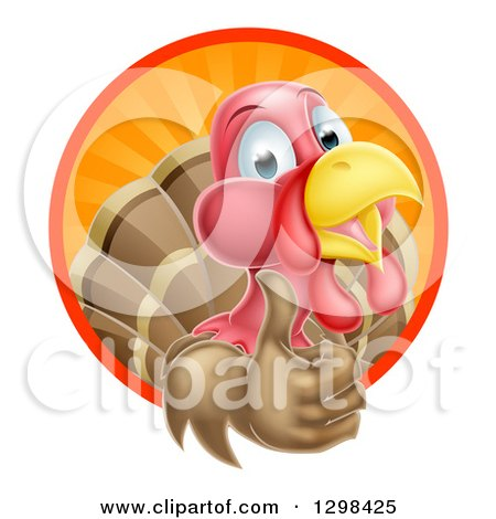 Clipart of a Happy Turkey Bird Giving a Thumb up and Emerging from a Circle of Sun Rays - Royalty Free Vector Illustration by AtStockIllustration