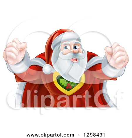 Clipart of a Super Hero Santa Claus Flexing His Biceps - Royalty Free Vector Illustration by AtStockIllustration