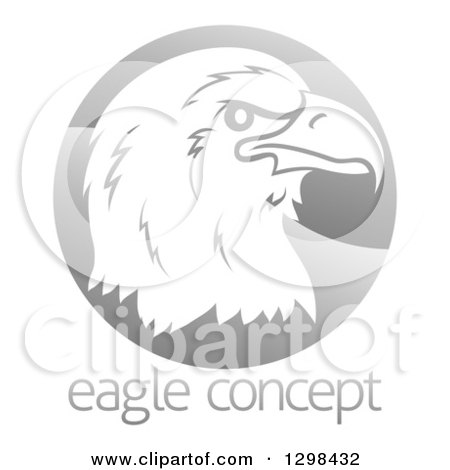 Clipart of a Profiled Bald Eagle or Falcon Head on a Shiny Gray Circle Above Sample Text - Royalty Free Vector Illustration by AtStockIllustration