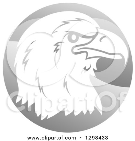 Clipart of a Profiled Bald Eagle or Falcon Head on a Shiny Gray Circle - Royalty Free Vector Illustration by AtStockIllustration