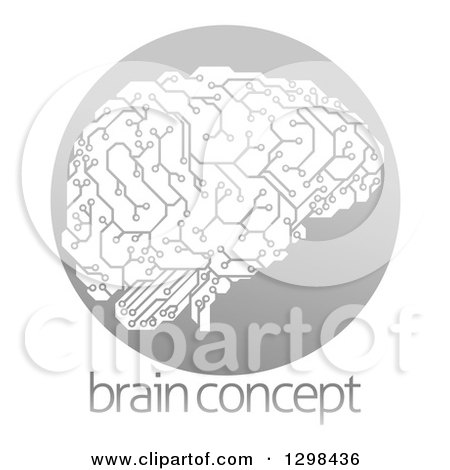 Clipart of a Circuit Board Artificial Intelligence Brain in a Gray Circle over Sample Text - Royalty Free Vector Illustration by AtStockIllustration