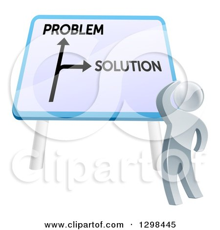 Clipart of a 3d Silver Man Looking up at Problem and Solution Sign - Royalty Free Vector Illustration by AtStockIllustration