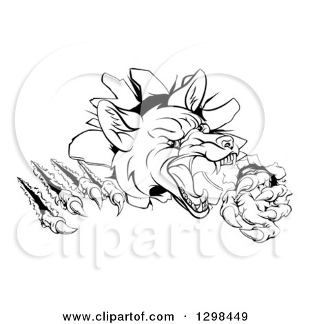 Clipart of a Black and White Vicious Fox Monster Shredding Through a Wall - Royalty Free Vector Illustration by AtStockIllustration