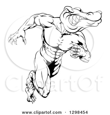 Clipart of a Black and White Vicious Muscular Alligator Man Running Upright - Royalty Free Vector Illustration by AtStockIllustration