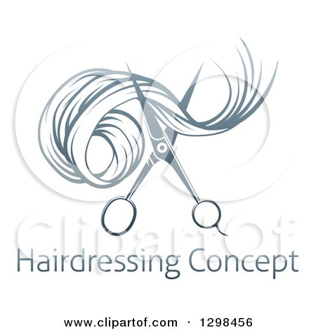 Clipart of Gradient Scissors Cutting Hair over Sample Text - Royalty Free Vector Illustration by AtStockIllustration