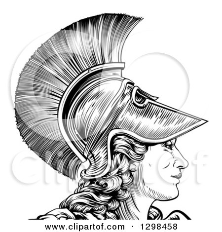 Clipart of a Black and White Engraved Greek Warrior Woman Athena, Hera, or Britannia in Profile - Royalty Free Vector Illustration by AtStockIllustration