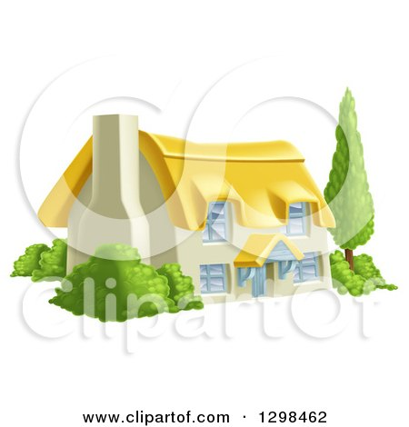 Clipart of a Thatched Roof Cottage Farm House with Shrubs - Royalty Free Vector Illustration by AtStockIllustration